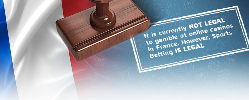 The French flag with superimposed text saying online casinos are illegal.