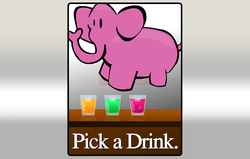 Three coloured drinks with the caption pick a drink