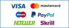Image representing e-wallet payment methods PayPal, Skrill, Neteller and credit cards.