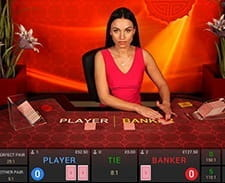 A live baccarat game at 21Nova.