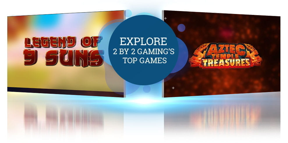 The Legend of 9 Suns and Aztec Temple Treasures slot logos from 2 by 2 Gaming.