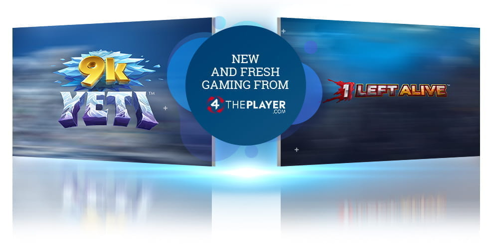 9k Yeti slot game logo and 1 Left Alive logo from 4ThePlayer, with the words 'New and Fresh Gaming from 4ThePlayer'.