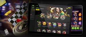 The 888casino app on an Android.