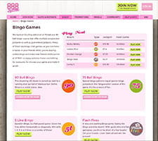 The bingo rooms page of 888Ladies with several options shown.