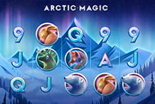 The rows and reels of the Arctic Magic slot game.