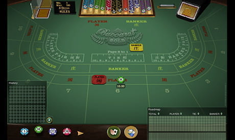 baccarat on a virtual green felt casino table.