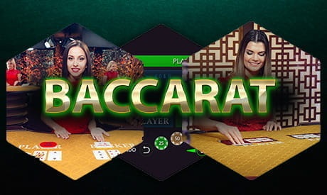 Two live croupiers dealing baccarat with the word 'baccarat' superimposed.