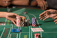 A baccarat game, laid out on a casino table.