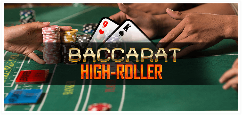 A green felt table with casino chips and gamblers' hands with the words 'Baccarat High Roller' superimposed.