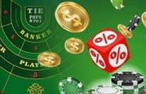 A baccarat payouts image showing coins and a dice with a percentage sign on it.
