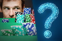 A man giving the side-eye to a stack of casino chips and a question mark.
