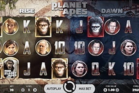 Image of the Planet of the Apes slot on a mobile device.