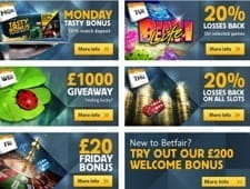 Image of the promotions at Betfair casino.