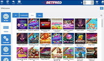 The slot games available at Betfred Bingo.