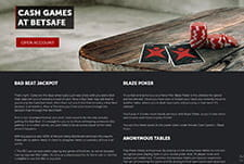 The Betsafe poker cash game interface.