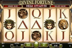 In-game image of Divine Fortune jackpot slot mobile game.