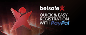 The Betsafe casino logo with the words 'Quick & Easy Registration with PayPal'.