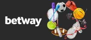 Das Betway-Logo und die Sportbälle.