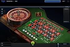 An in-game example from Premium European Roulette showing the table, wheels, and chips.