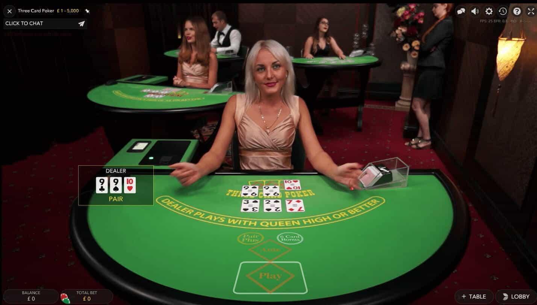 evolution live casino three card poker