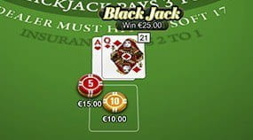 Any Real Money Wins in Blackjack will be Displayed on the Screen