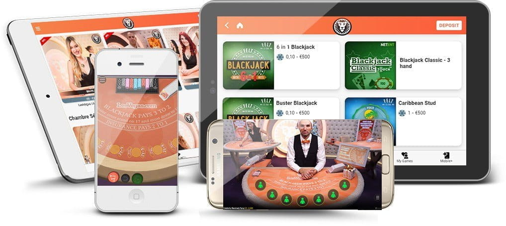 Several mobile devices including smartphones and tablets showing blackjack games.