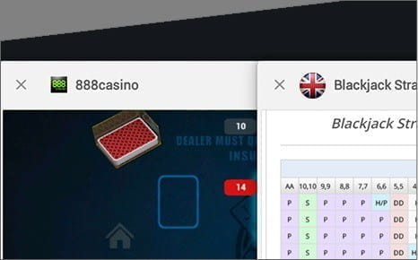 Open the Blackjack Strategy Table in another Browser and Consult it as you Play