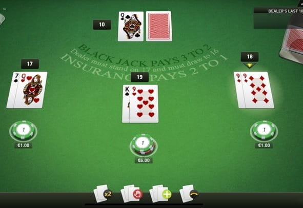 The 3 Hands Blackjack game by NetEnt.