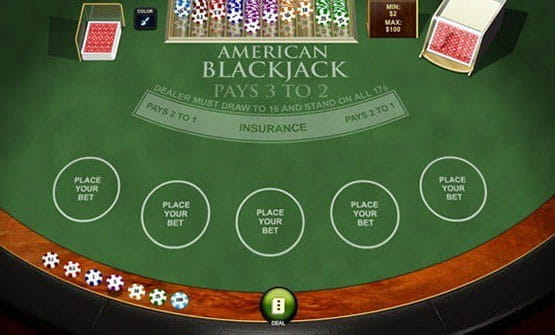 Playing a hand of the American Blackjack game by Playtech.