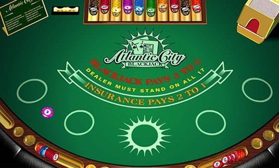 A game of Atlantic City Blackjack, before any cards are dealt.