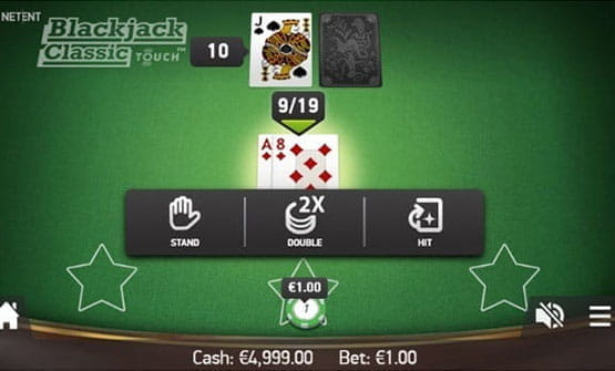Playing a hand of the Classic Touch Blackjack game by NetEnt.