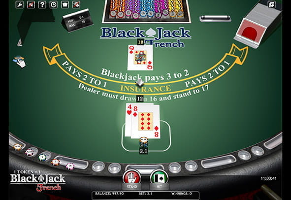 Blackjack French demo game view.
