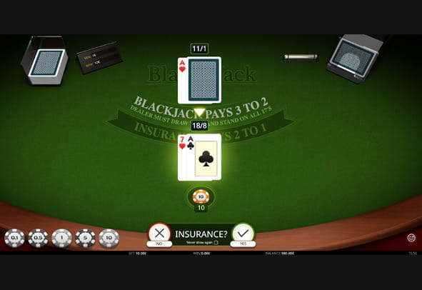 Blackjack Single Hand gameplay.