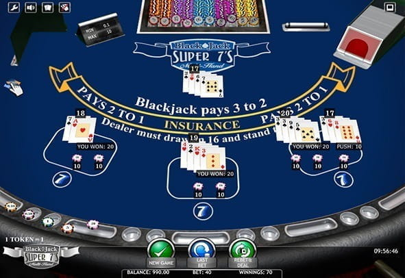 The Blackjack Super 7's Multi Hand game from iSotfBet