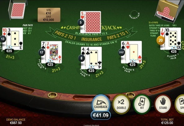 The Cashback Blackjack game by Playtech.