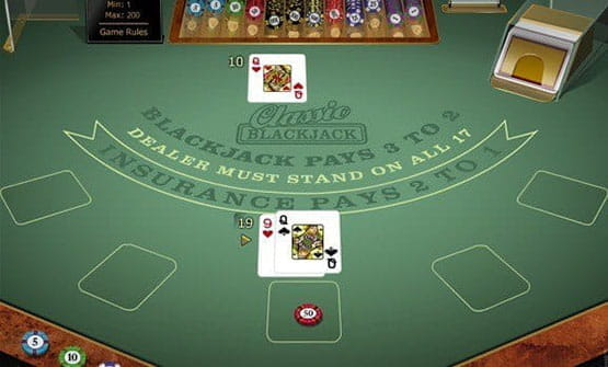 A hand of the Classic Blackjack Gold game by Microgaming.