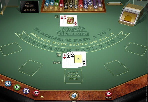 The Classic Blackjack Gold game demo by Microgaming.
