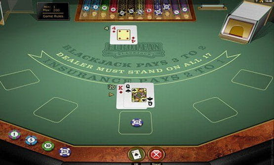 A hand of the European Blackjack Gold game by Microgaming.