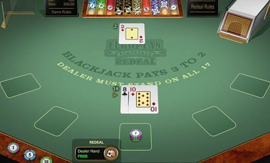 A hand of the European Blackjack Redeal Gold game from Microgaming