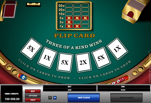 In-game action of the Flip Card game.