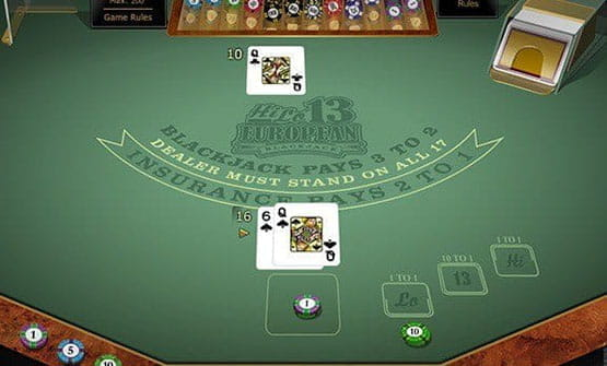 A hand of the Hi Lo 13 European Blackjack Gold game from Microgaming