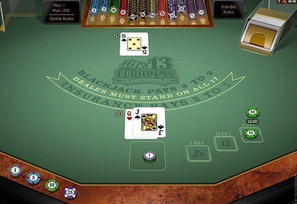 The Hi Lo 13 European Blackjack Gold game from Microgaming.