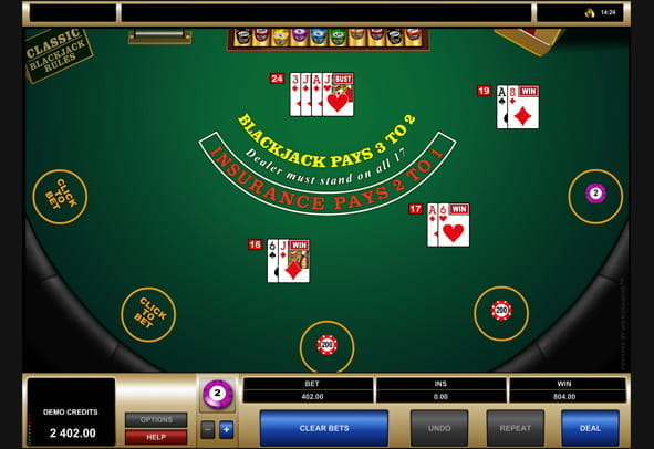 Multi-Hand Classic Blackjack Gold gameplay