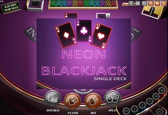 In-game view of Neon Single Deck Blackjack.