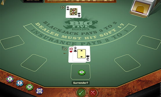 Cards from the Big Five Blackjack Roulette Gold online game.