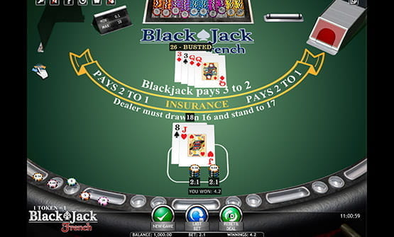 Blackjack French gameplay view.