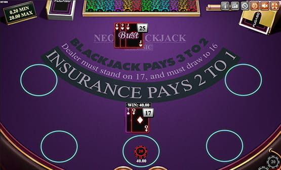 Neon Blackjack gameplay.
