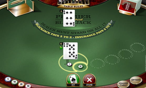 Cards from the Premier High Streak Blackjack  online game