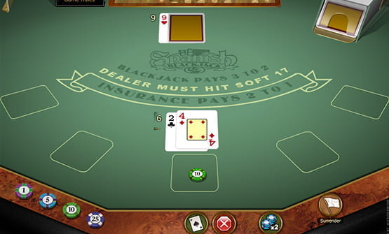 The cards in the Spanish Blackjack Gold online game.