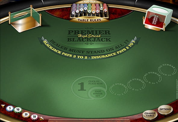 A demo game of Premier High Streak Blackjack.